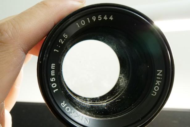 ニコン Nikon NIKKOR 105mm F2.5 Ai-s 前玉 カビ付着